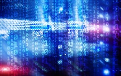 Binary code matrix digital internet technology concept on server room background.