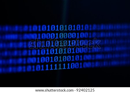 Binary code on a computer monitor.