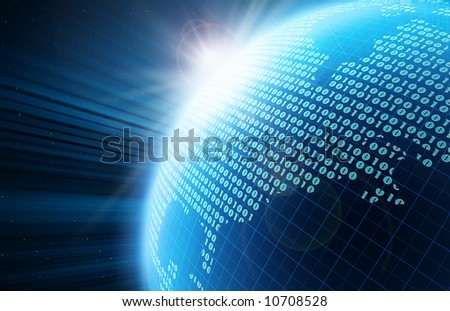 Binary code on a surface of a planet - stock photo