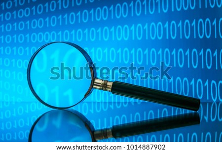 Binary code. Search. Magnifying glass