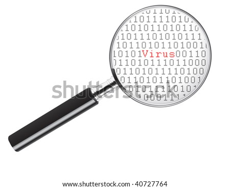 Binary code under a magnifying glass with the word virus in the middle - stock photo