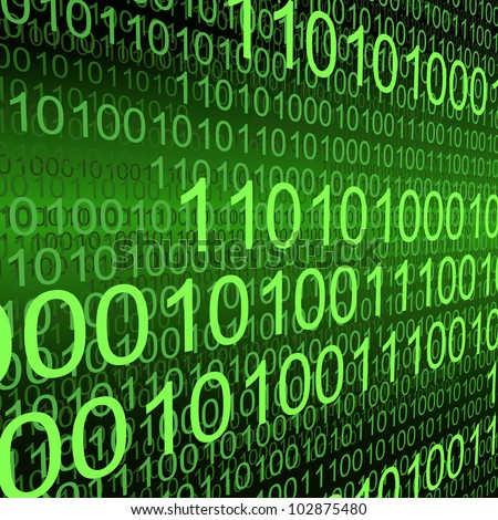 Binary code zeros and ones creating green background