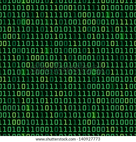 Binary computer code repeating background illustration