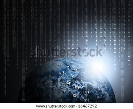 Binary Data Code Raining on Earth or Globe