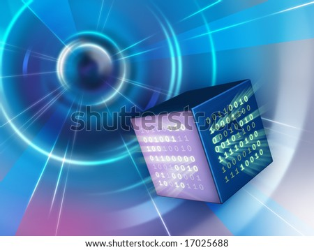 Binary data cube traveling in a tunnel. Digital illustration.