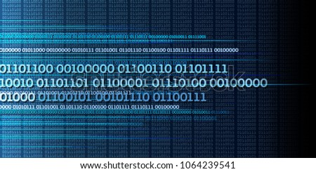 Binary data stream concept, numbers, big data, information - dynamic blue background
