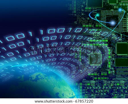 Binary data streaming around globe, circuit board background, digital technology concept