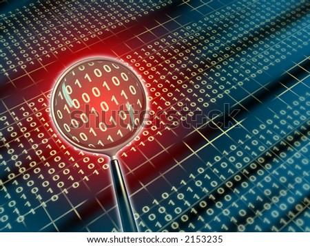 Binary data under a magnifying lens. Digital illustration.