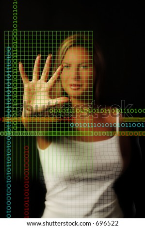 Binary Girl with coded grid