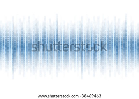 binary stream in blue on white background