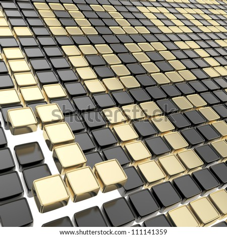 Binary technology background: golden ones and zeros made of glossy square fragment plates