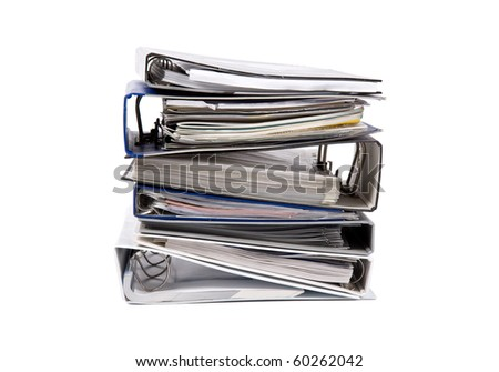 binder documents in stack isolated on white