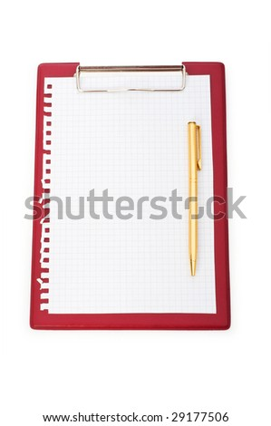Binder with black sheet isolated on white