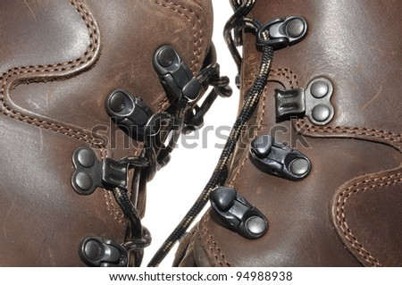 Binding of leather shoes on mountain expeditions