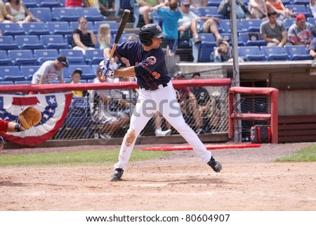 BINGHAMTON, NY - JULY 7: Binghamton Mets batter Joshua Satin stands at the plate in a game against the Portland Sea Dogs  at NYSEG Stadium on July 7, 2011 in Binghamton, NY