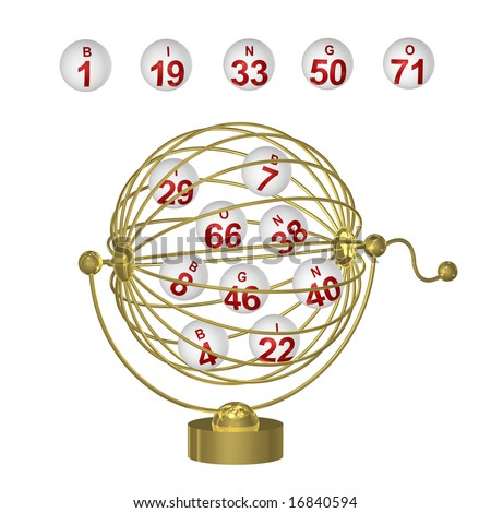 Bingo balls with red numbers in round wire cage with handle on white background.
