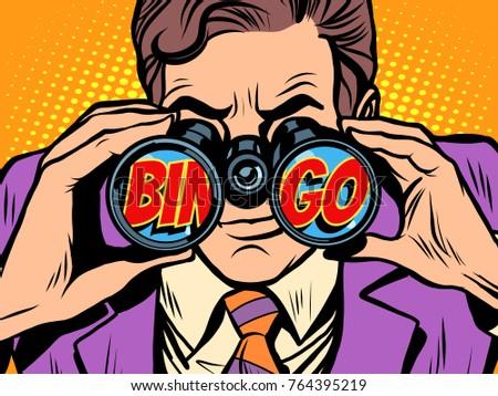 Bingo Businessman looking through binoculars. Pop art retro  illustration.