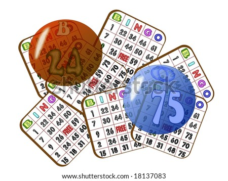 Bingo cards and transparent balls isolated over white
