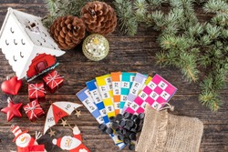 Bingo for mew year and Christmas on the rustic table , bingo and lottery concept for Christmas and new year