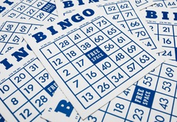 Bingo game cards. Bingo numbers with blue and white background.