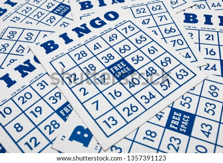 Bingo game cards. Bingo numbers with blue and white background. Photo stock ©