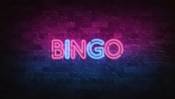 bingo neon sign. purple and blue glow. neon text. Brick wall lit by neon lamps. Night lighting on the wall. 3d render