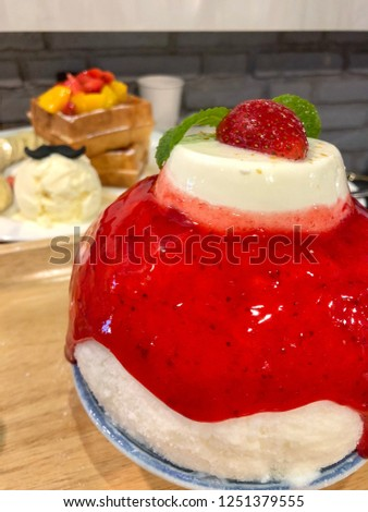 Korean Dessert Bingsoo Or Bingsu Korean Shaved Ice Dessert With