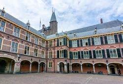 Binnenhof palace (Dutch parliament) courtyard in Hague, Netherlands