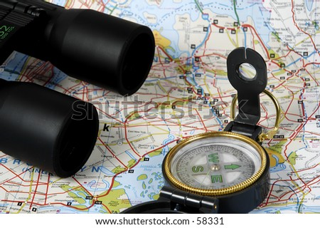 Binoculars and a Compass