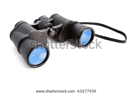 Binoculars and blue sky, concept of Searching Freedom