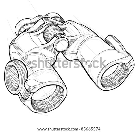 Binoculars - black and white sketch. Bitmap copy my vector ID 69274651