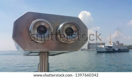 Binoculars for city viewing. Kadikoy, Istanbul, Turkey