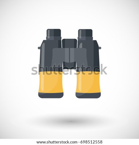 Binoculars icon, Flat design of exploring equipment or birdwatching tool with round shadow, illustration
