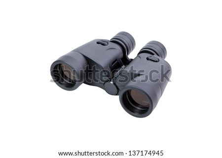 Binoculars in black on a white background