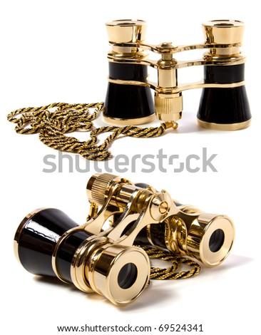 Binoculars isolated on white background - stock photo