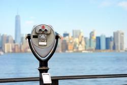 Binoculars looking to the Manhattan skyline