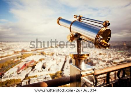 binoculars telescope and view on Paris #267365834