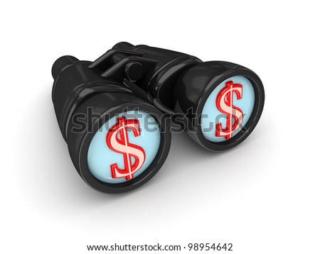 Binoculars with dollar symbol. Isolated on white background. 3d rendered.