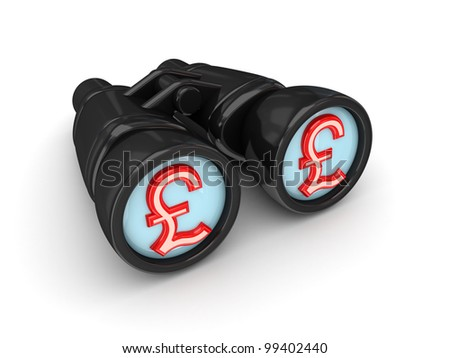 Binoculars with pound sterling symbol. Isolated on white background. 3d rendered.