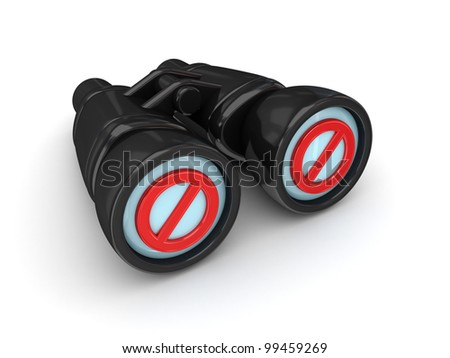 Binoculars with STOP sign. Isolated on white background. 3d rendered.