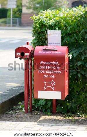 Bins in public parks for dog excrement. Useful file for your environment flyer, city ecology etc.