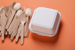 Bio-degradable paper burger box and wooden cutlery, packaging for hamburger