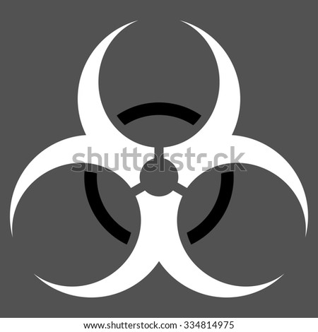 Bio Hazard illustration icon. Style is bicolor flat symbol, black and white colors, rounded angles, gray background.