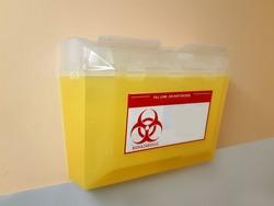 bio-hazard sharps disposal box for used syringes and needles