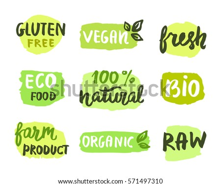 Bio natural food concept. Set of labels. Ecology logo. Eco, organic, vegan, product. Hand drawn lettering, stains