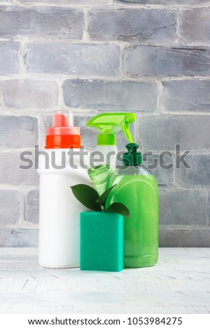 Shutterstock Bio organic natural cleaning supplies. Save the planet concept. White background. Copy space