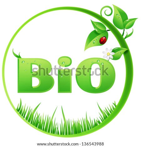 Bio sign ecological design isolated