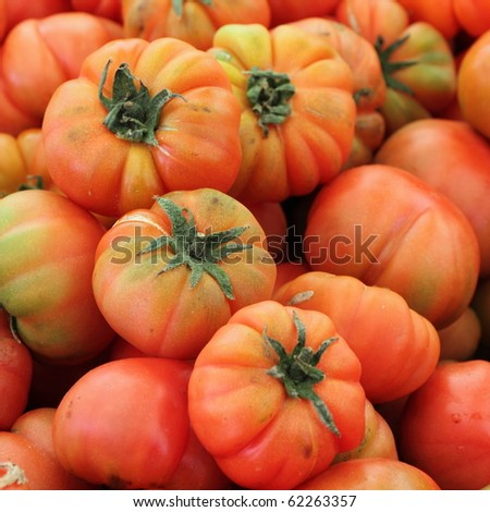bio tomatoes on farmer market, Italy