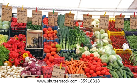 bio vegetables at the open market in Italy