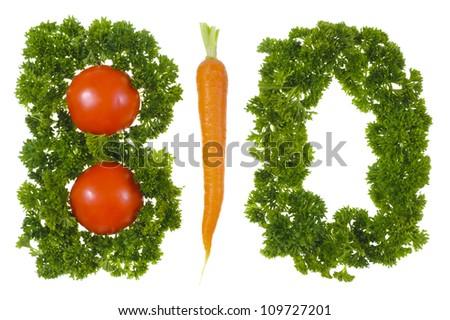 bio vegetables over white background